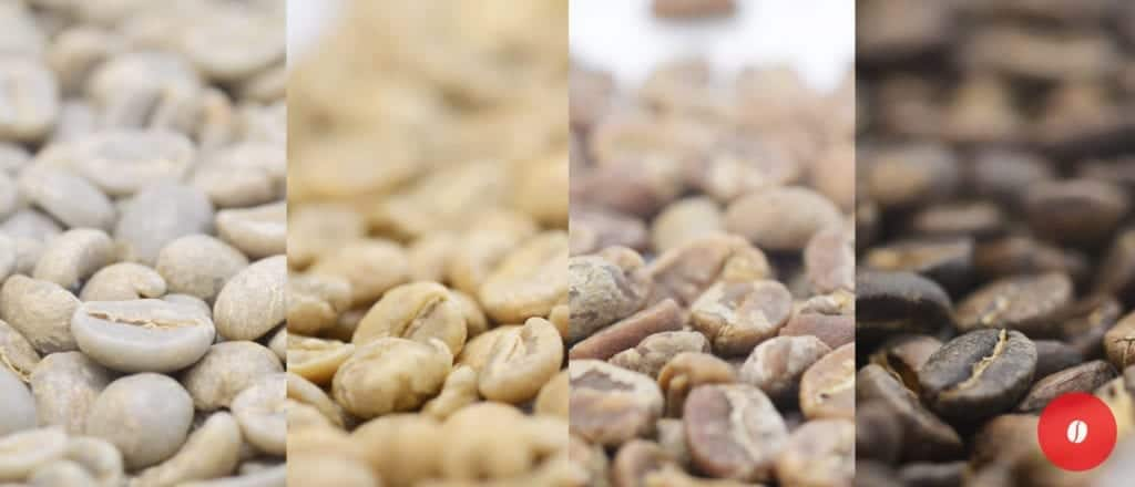 The various colours of roasting coffee