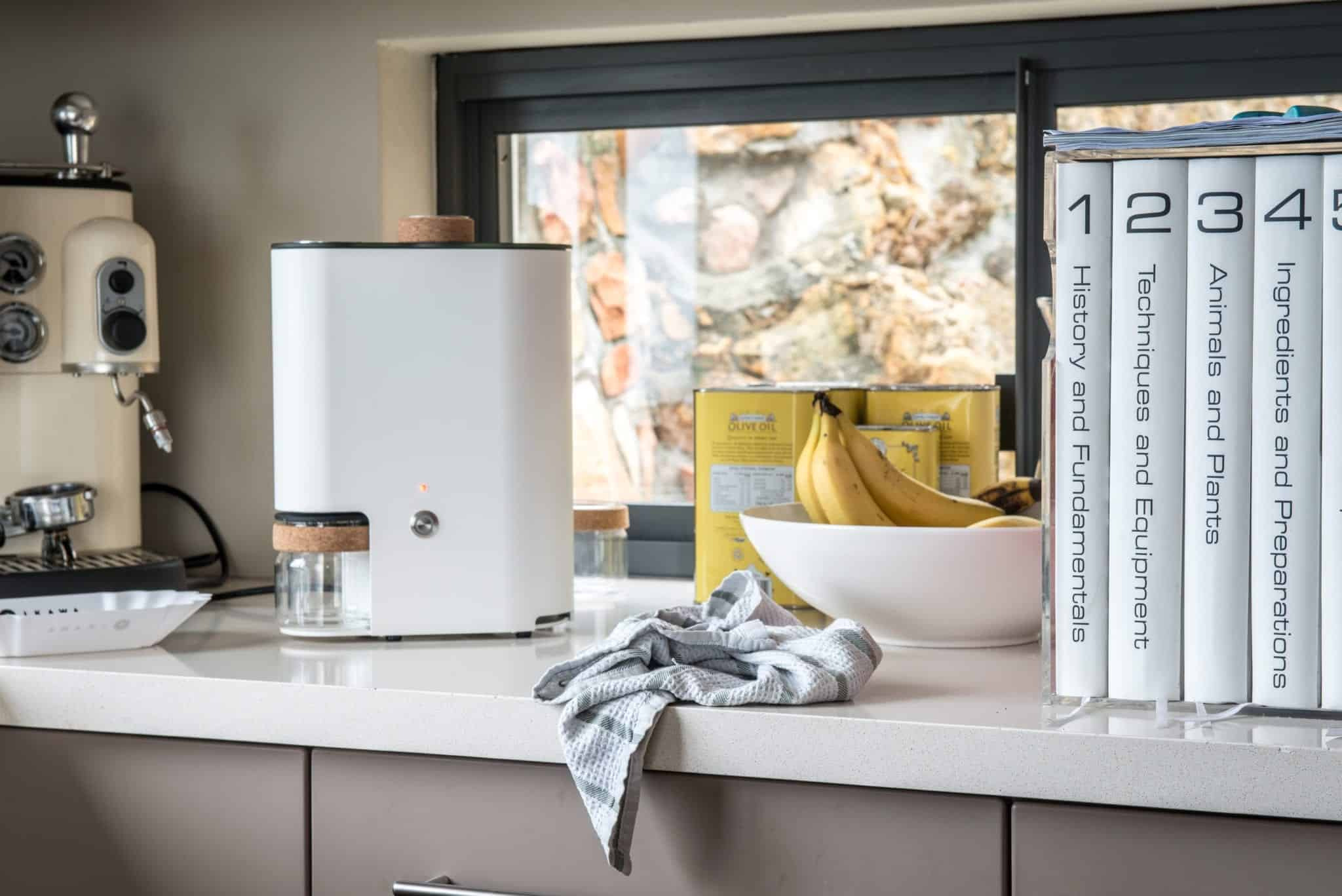 IKAWA Smart Home Coffee Roaster System kitchen side image with bananas